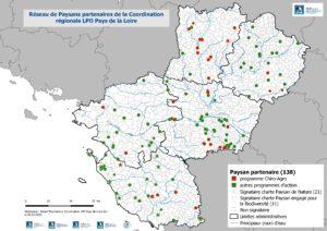 Localisation des paysans partenaires engagés dans la préservation de la biodiversité